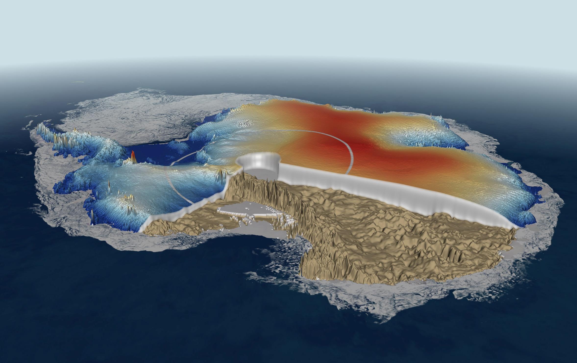 Толщина льда в Антарктиде