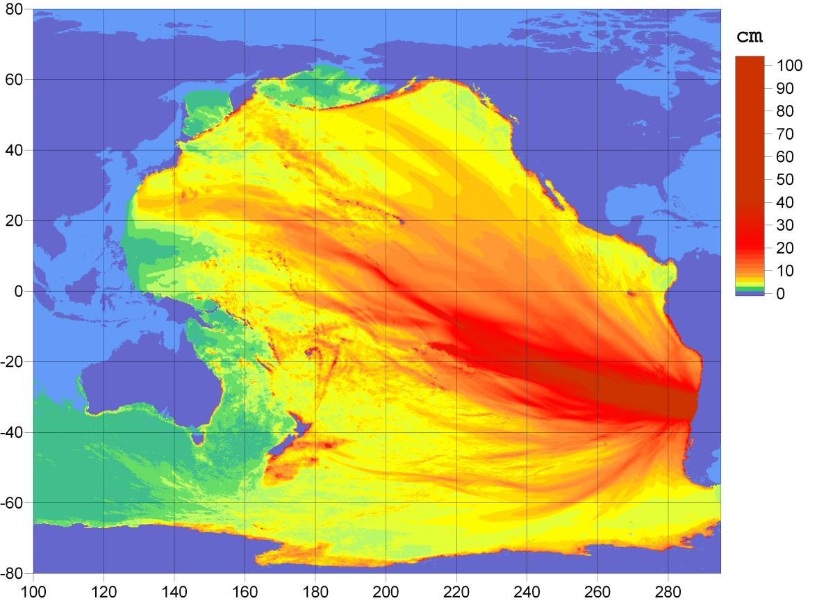Карта высоты волн цунами