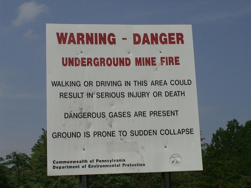 Предупреждение о бушующих подземных пожарах