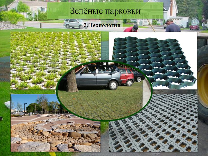 Технологии, применяемые при возведении зелёных парковок.