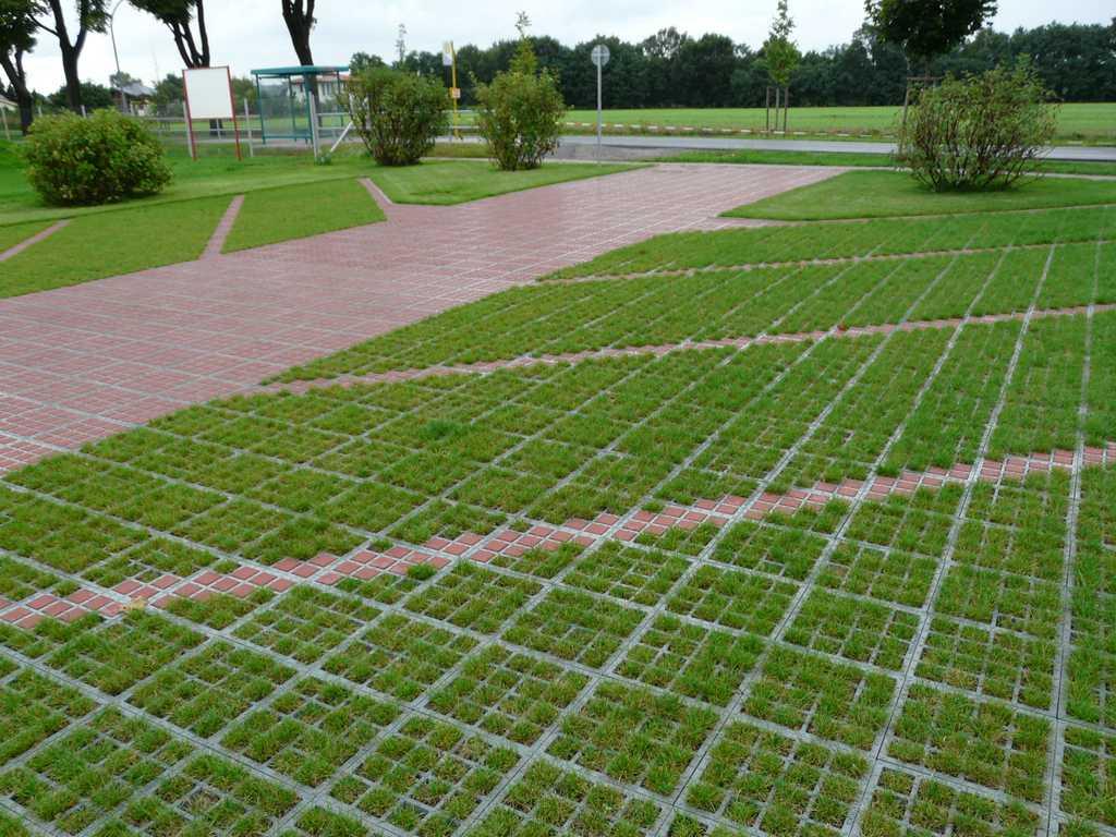 Зелёная экологичная парковка на основе решёток ТТЕ