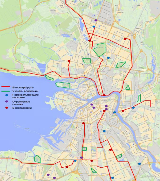 Опорная сеть велосипедных маршрутов в Санкт-Петербурге, планируемая к созданию до 2015 года