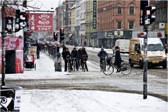 Велосипедисты Копенгагена зимой