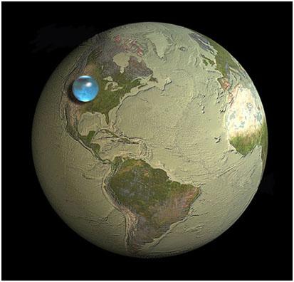 Шар воды диаметром 1350 км на поверхности Земли