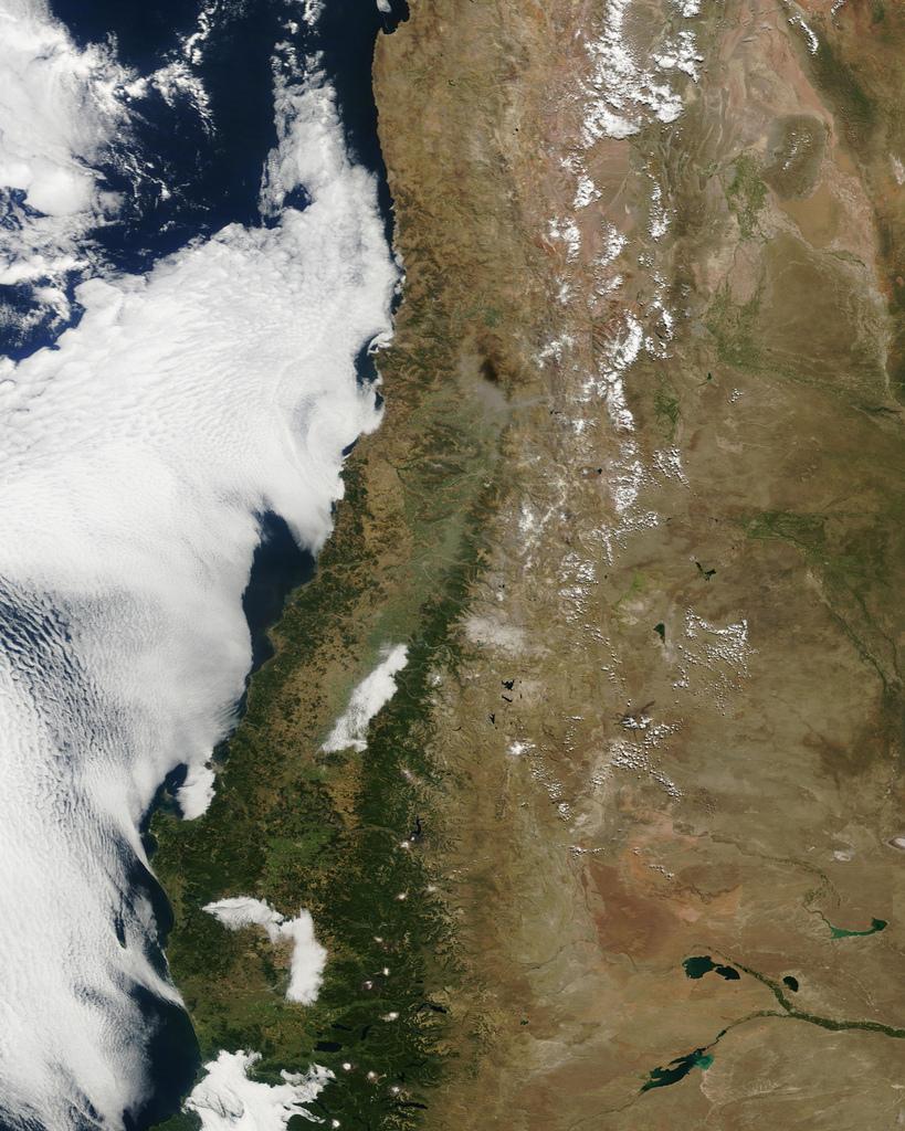 Землетрясение в Сантьяго из космоса