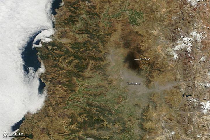Землетрясение в Чили из космоса