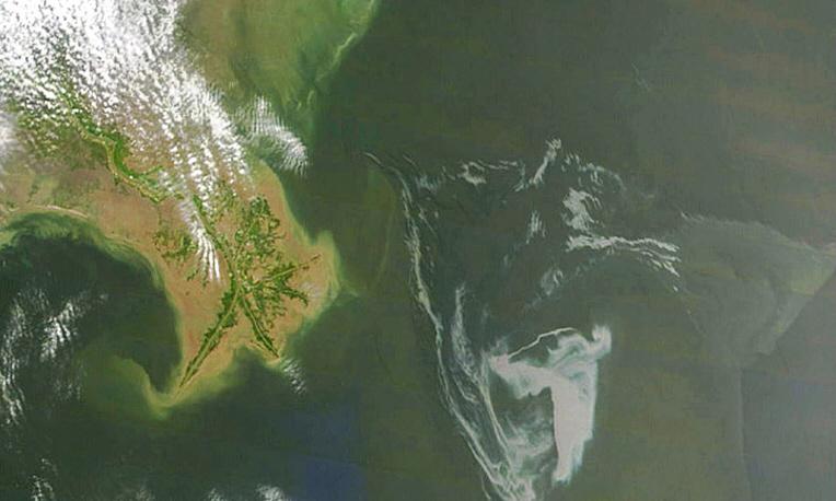 Нефтяное пятно в Мексиканском заливе из космоса