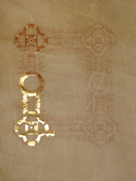 Andras Truemark Chivalry scroll - gilding in progress