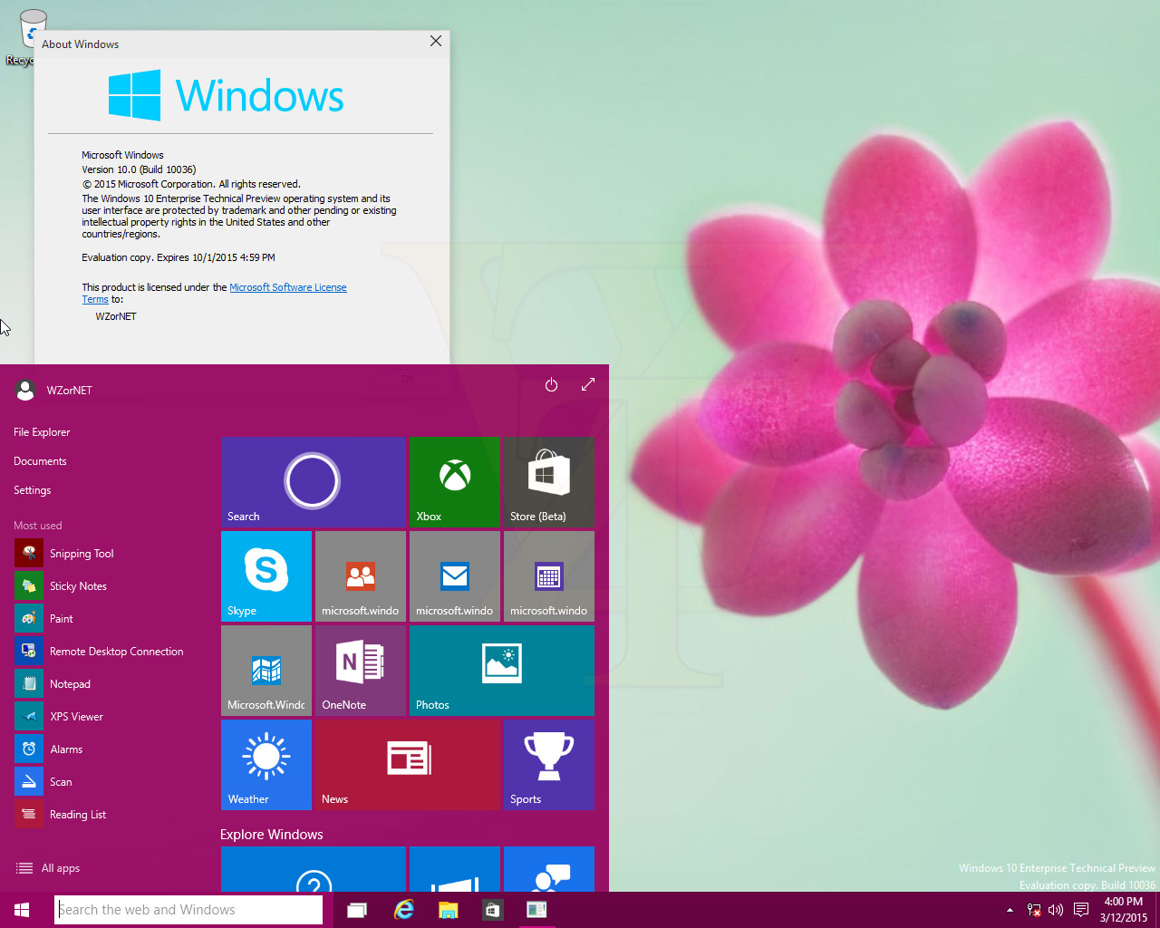 Windows 10 Build 10036 Start Menu