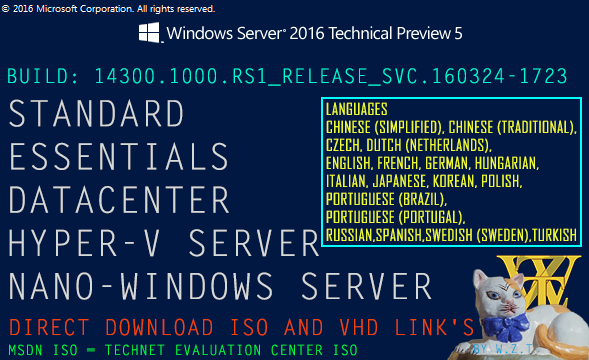 DownLoad Microsoft Windows Server 2016 Technical Preview 5 Build