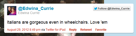 Twitter Blasts Edwina Currie For THAT Paralympics Tweet