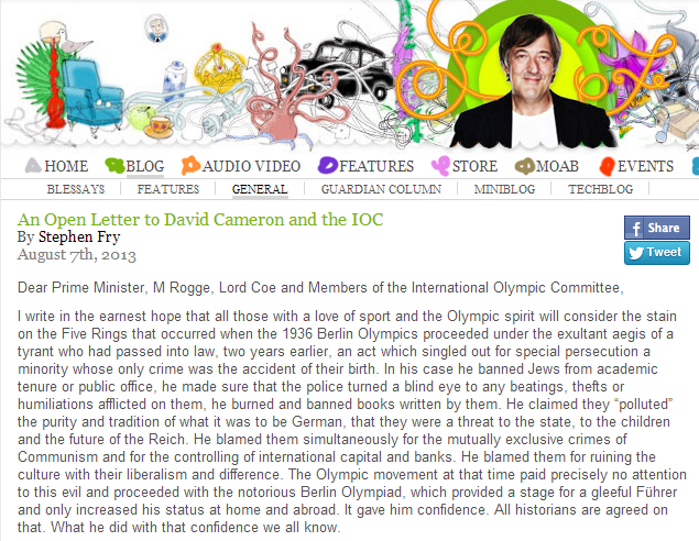An Open Letter to David Cameron and the IOC « The New Adventures of Stephen Fry