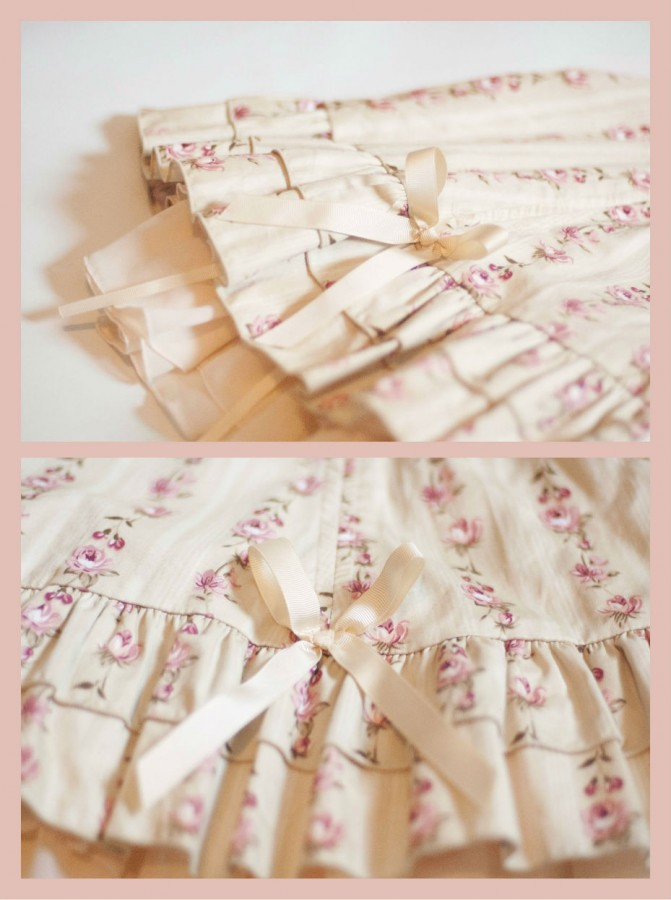 Bodyline Floral Cream Skirt Detail1