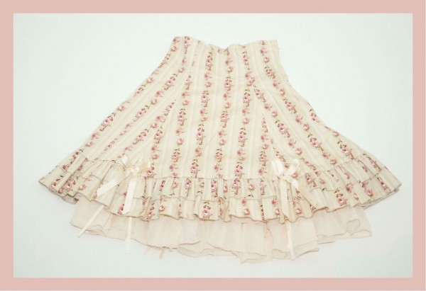 Bodyline Floral Skirt Cream Full1