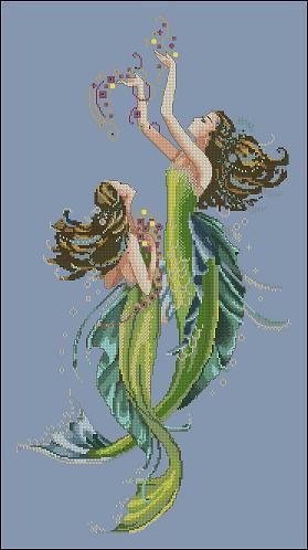 Цветов: 37.  Размер: 166 х 312 крестиков.  Две прекрасных русалки, плывущих из самой синевы бездонного океана.