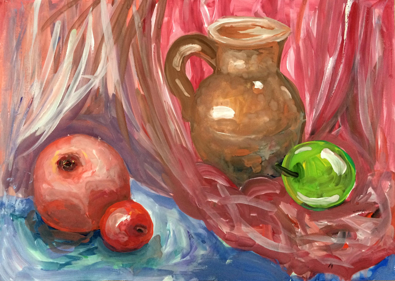 картинки натюрморт с кувшином и яблоком подходящей
