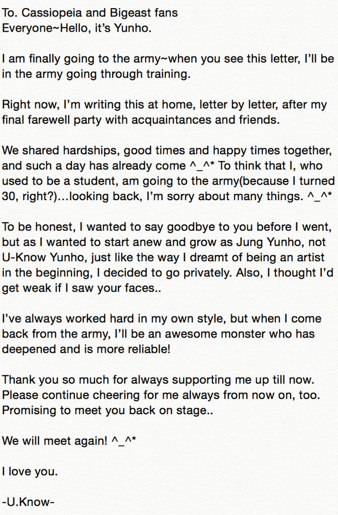 Yunhos letter to the fans We Will meet again OMONA THEY