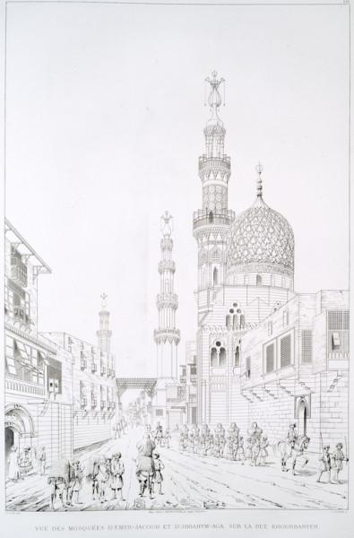 Vue des Mosquées d'Emyr-Jacour et d'Jbrahym-Aga, sur la rue Khourbaryeh (1839)