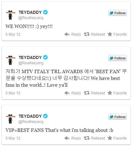 """Big Bang claims victory at """"MTV Italy TRL Awards 2012"""