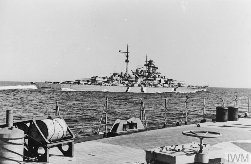THE GERMAN BATTLESHIP BISMARCK IN THE NORTH SEA, MAY 1941