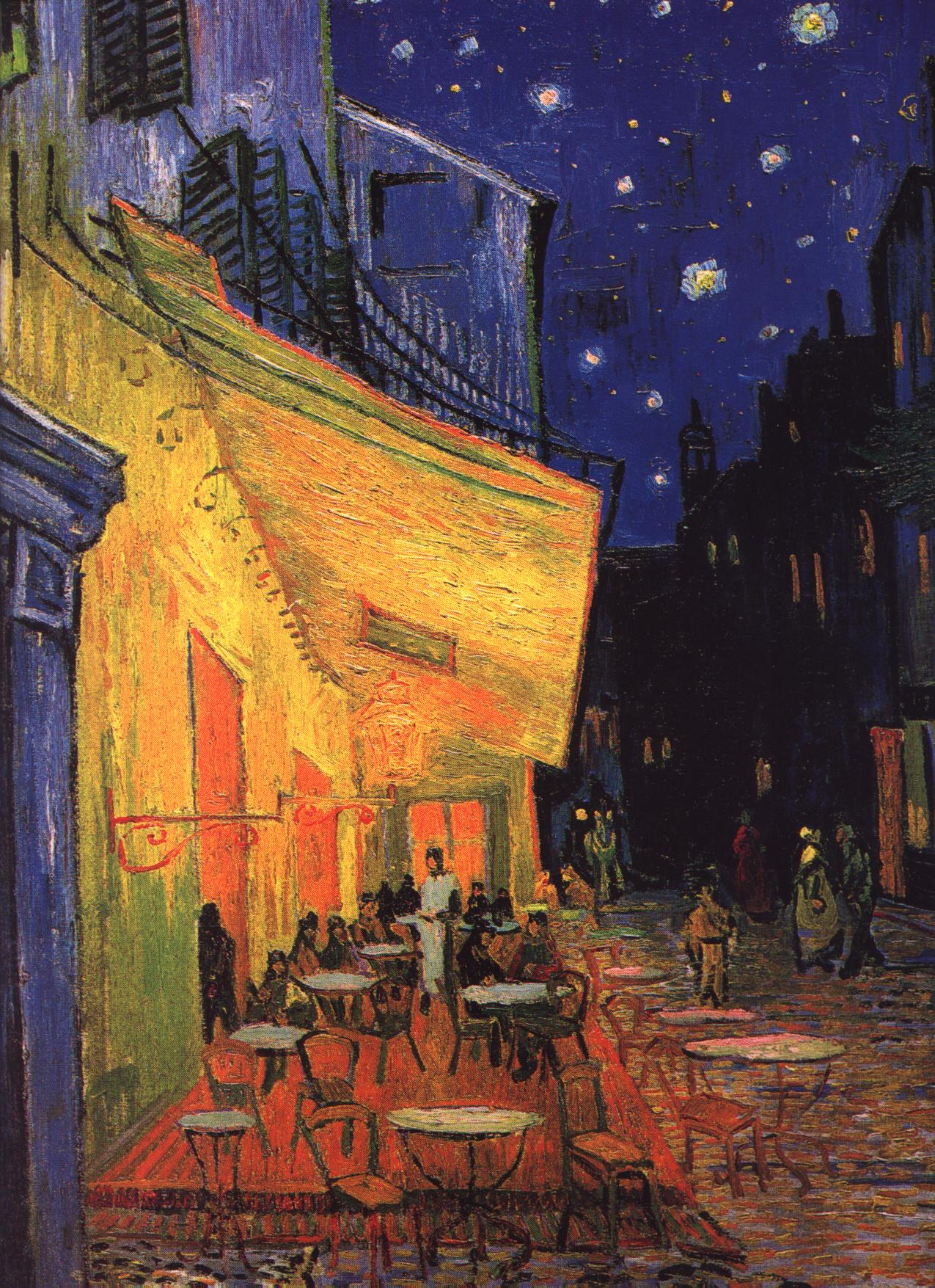 """vincent van gogh the night cafe essay Analyzing cafe at night painted by vincent van gogh i have chosen to write my  paper on painting titled """"café at night"""" by vincent van gogh since this picture."""