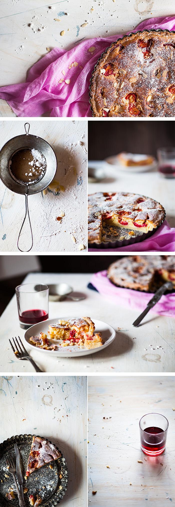 Пирог со сливами и миндальной стружкой