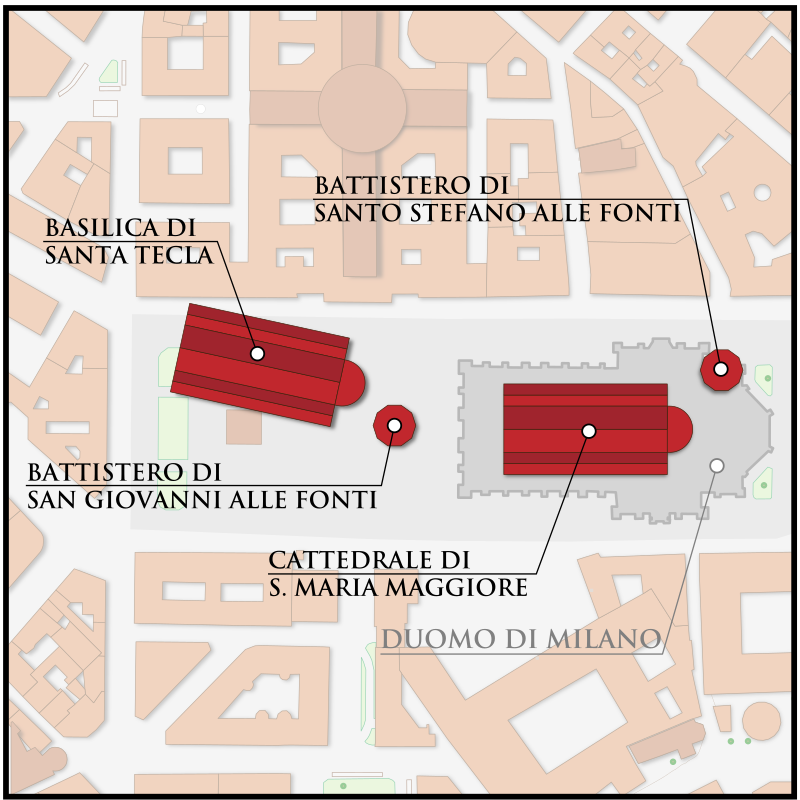 Положение баптистерия Св. Стефана у источников на карте.