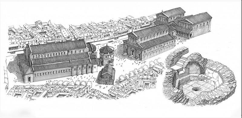 Слева на право: базилика Nova, баптистерий Сан-Джованни-алле-Фонти с часовней при нем, базилика Vetus, резиденция епископа.