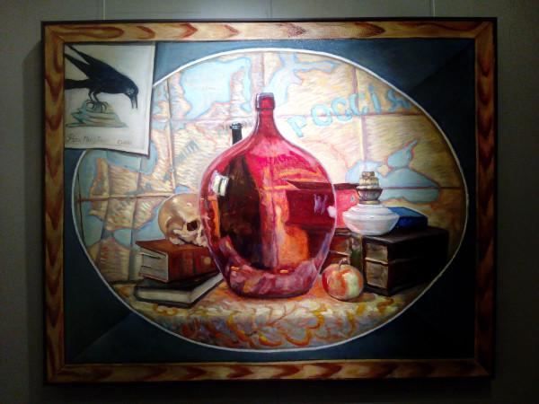 2011_Натюрморт с красной бутылью, вороной и черепом