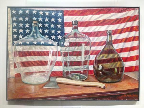 2012_Натюрморт с топором на фоне американского флага