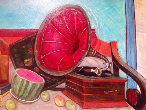 2010_Натюрморт на диване с граммофоном (фрагмент)