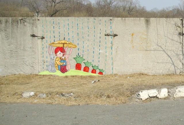 рисунки на стенах и заборах для детей