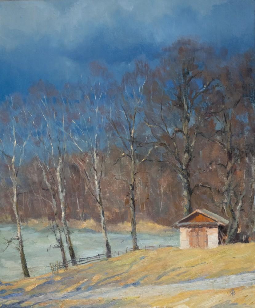 Картины я пишу редко, все больше этюды, это эту работу, пожалуй, могу назвать картиной, вынашивала и писала небыстро. 50x60, Весна в Талашкино.