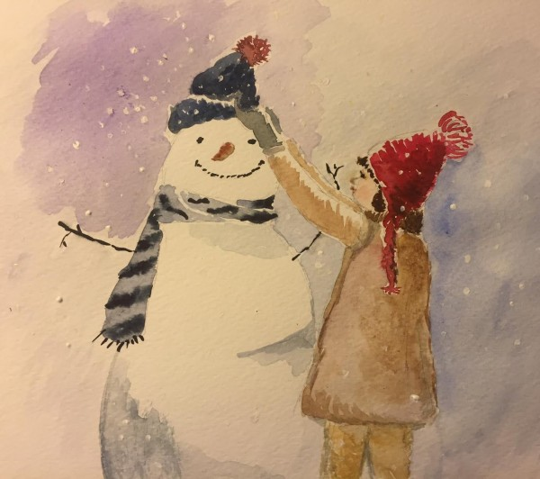 Girl and a snowman