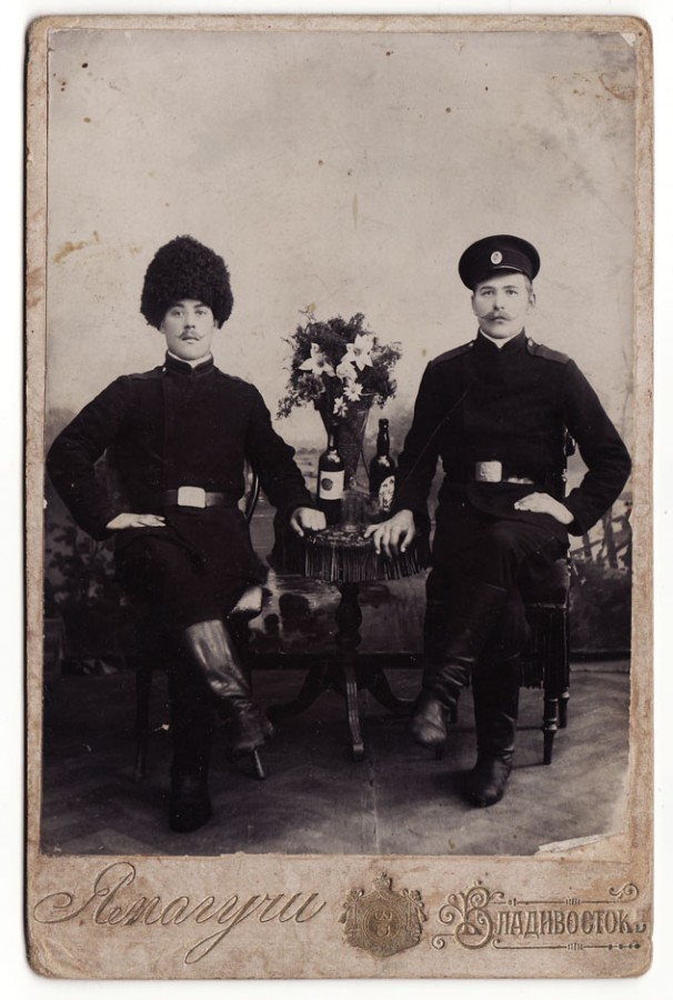 1910s Imperial Russia  Vladivostok - Soldiers Posing with Wine Bottles