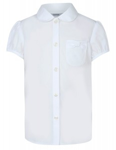Girls School Bow Pocket Blouse – White