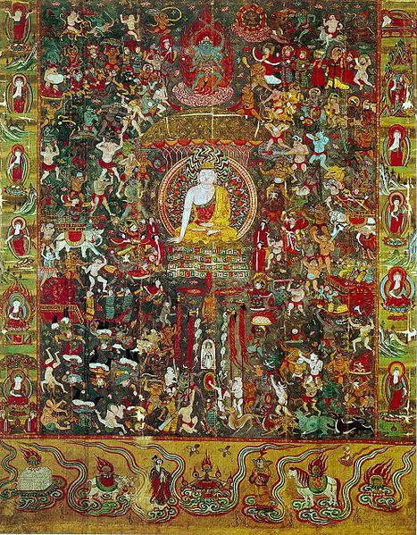 Мара испытывает Будду. 10 в. Дуньхуан Муз Гимэ