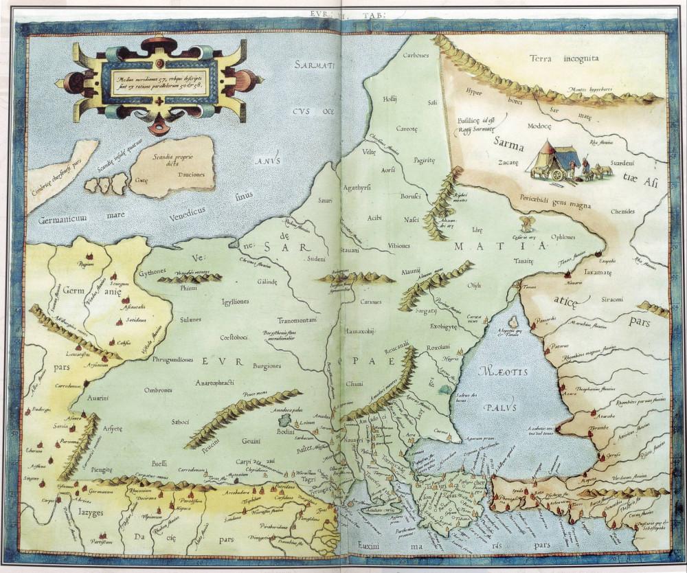 Старинные карты Крыма. Клавдий Птолемей Герард Меркатор карта Европы VIII Кельн 1584 год