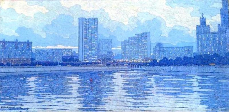 Борис Рыбченков. Светлый вечер на Москве-реке. 1969