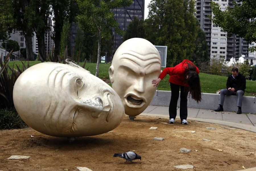 Yin and Yangsculpture with Sue Bierman Park