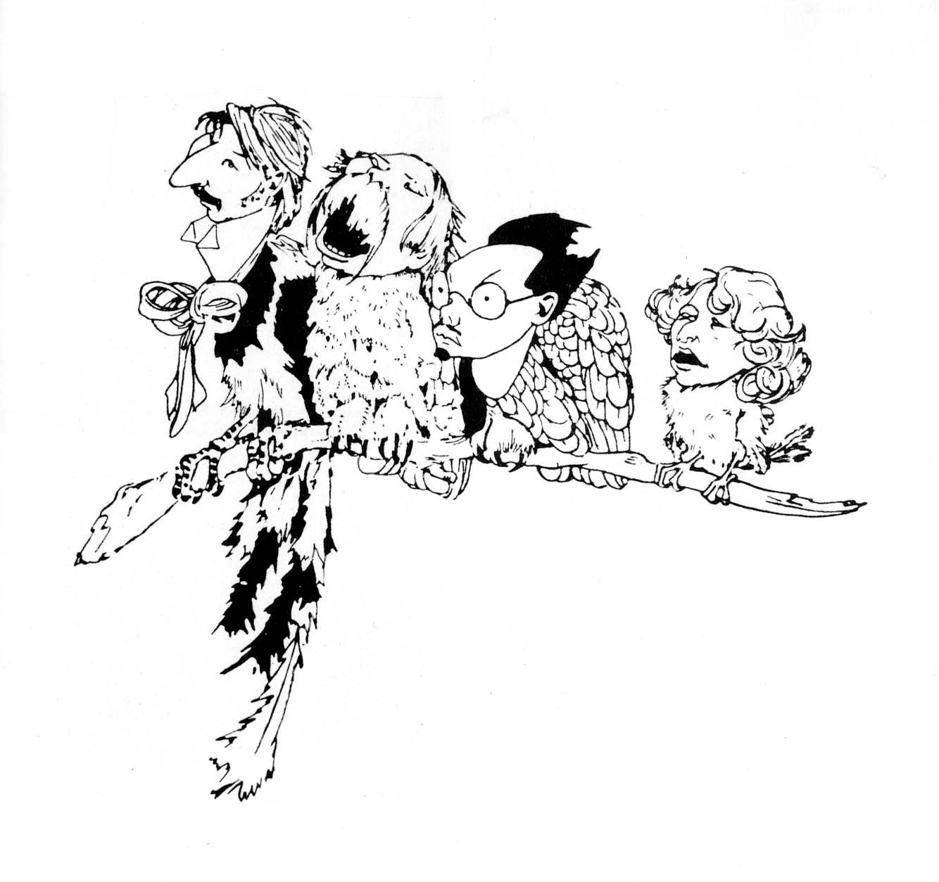 """КАРИКАТУРА НА УЧАСТНИКОВ """"КРАСЫ"""". СЛЕВА-НАПРАВО: ГОРОДЕЦКИЙ, КЛЮЕВ, РЕМИЗОВ, ЕСЕНИН"""