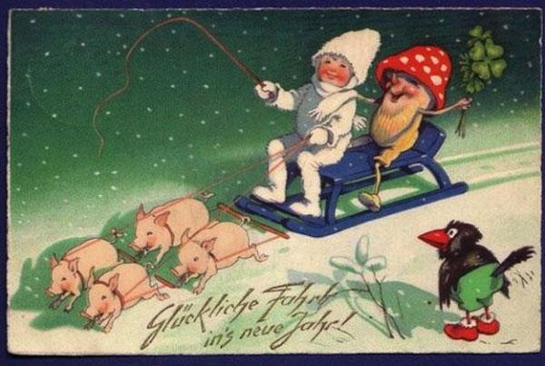 Странные и необычные новогодние открытки из прошлого столетия 80062-7