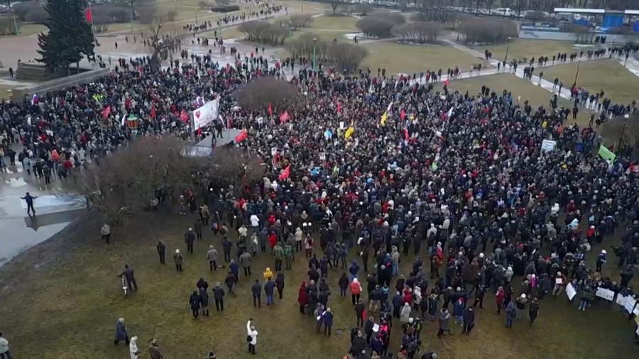 фото с квадрокоптера перед началом митинга