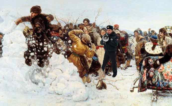 Взятие снежного городка в сочельник 13 года