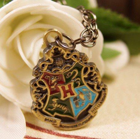Кулон на цепочке Герб Хогвартса (бронзовый цвет)