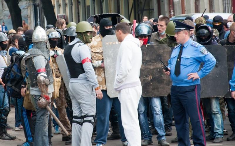 Начало мирной демонстрации пророссийских боевиков в Одессе.
