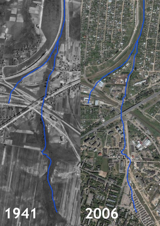 Река 2 на аэроснимках 1941 и 2006
