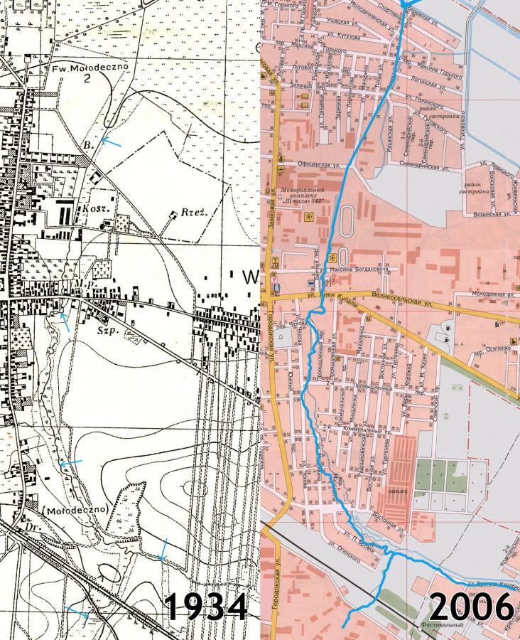 Река 3 на картах 1934 и 2006