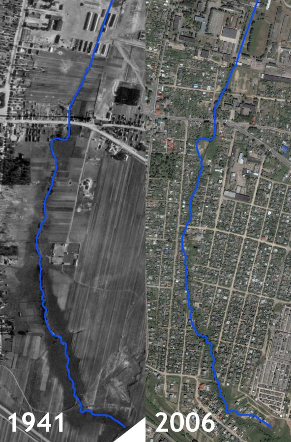 Река 3 на аэроснимках 1941 и 2006