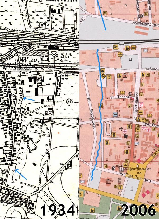 Река 1 на картах 1934 и 2006